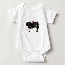 Beef Butcher Chart - Tasty Delicious Yummy Beef! Baby Bodysuit