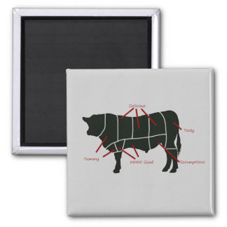Beef Butcher Chart - Tasty Delicious Yummy Beef! Refrigerator Magnets