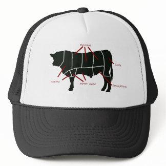 Beef Butcher Chart - Tasty Delicious Yummy Beef! Trucker Hat