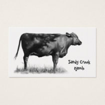 Beef, Cattle, Cow: Agriculture, Farm: Pencil Art Business Card