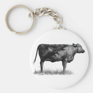 Beef Cow/Heifer in Pencil: Realism: Drawing Basic Round Button Keychain