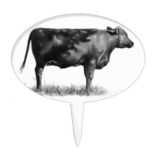 Beef Cow Heifer in Pencil Realism Drawing Oval Cake Toppers