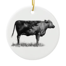 Beef Cow/Heifer in Pencil: Realism: Drawing Ceramic Ornament