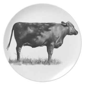 Beef Cow/Heifer in Pencil: Realism: Drawing Party Plates