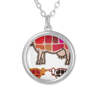 Beef Cuts Silver Plated Necklace