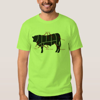 Beef Eater! Tasty Cuts Butchering Diagram T-shirt