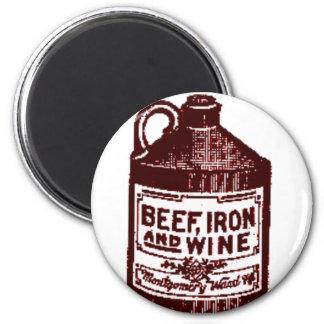 Beef, iron and wine fridge magnet