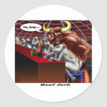 Beef Jerky Origins Funny Cow & Bull Cartoon Gifts Classic Round Sticker