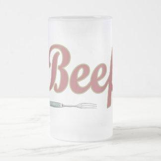 Beef n' Fork Frosted Glass Beer Mug