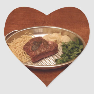 Beef, Noodles, Coriander and Chips Heart Sticker