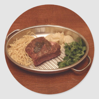 Beef Noodles Coriander and Chips Round Stickers