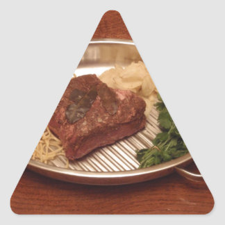 Beef, Noodles, Coriander and Chips Triangle Sticker