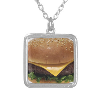 Beef Patti Sandwich Lunch Food Cheeseburger Silver Plated Necklace