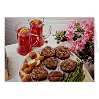 Beef rolls with boiled potatoes  flowers greeting cards