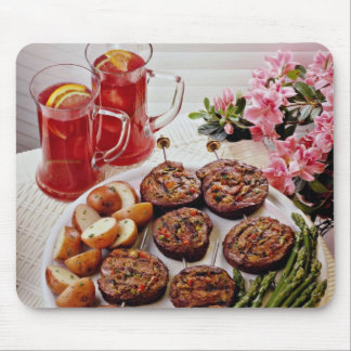Beef rolls with boiled potatoes  flowers mouse pad