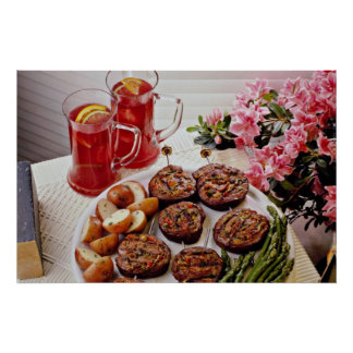 Beef rolls with boiled potatoes  flowers print