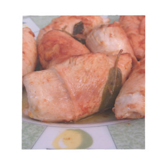 Beef rouladen with ham and cheese note pad