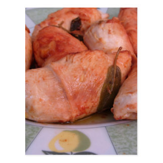 Beef rouladen with ham and cheese postcard