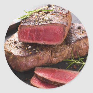 Beef steak classic round sticker