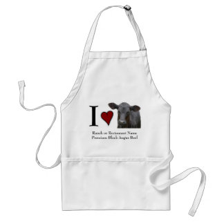Beef Steak I Love Black Angus Adult Apron