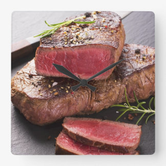Beef steak square wall clock