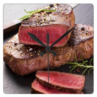 Beef steak square wall clock