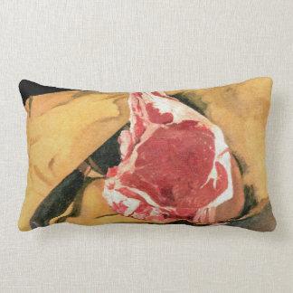Beef Steak Vintage Art by Felix Vallotton Lumbar Pillow