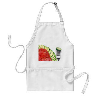 Beefsteak tomato sliced and summer squash adult apron