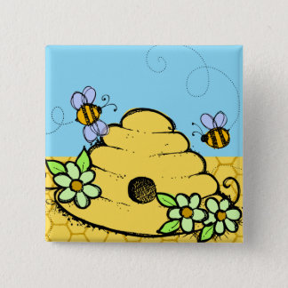 Beehive and Bees Button