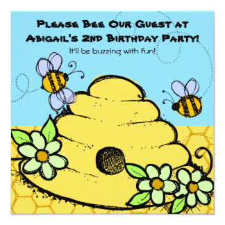 """Beehive and Bees Customized  Birthday Invitations 5.25"""" Square Invitation Card"""