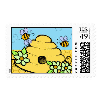 Beehive and Bees Postage Stamps