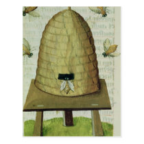 Beehive and Bees Postcard