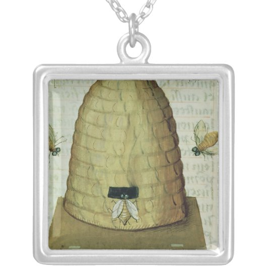 Beehive and Bees Silver Plated Necklace