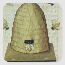 Beehive and Bees Square Sticker