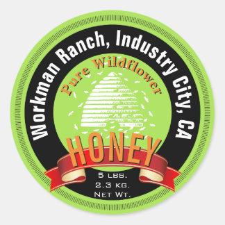 Beehive and Custom Round Text Honey Jar Classic Round Sticker