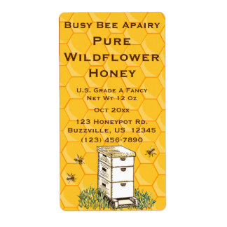 Beehive and Honeycomb Personalized Apiary Shipping Label