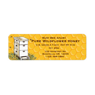 Beehive and Honeycomb Personalized Apiary Style 3 Label