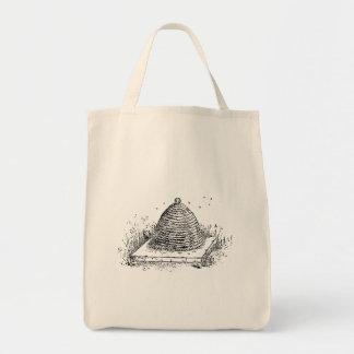 Beehive Black and White Vintage Art Tote Bag