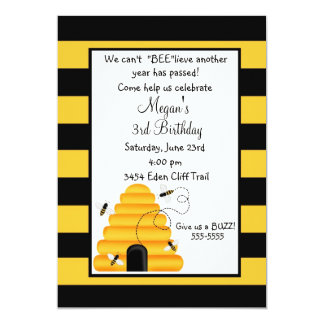 "Beehive Bumblebee Birthday Invitations 5"" X 7"" Invitation Card"