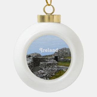 Beehive Hut Village Ceramic Ball Christmas Ornament