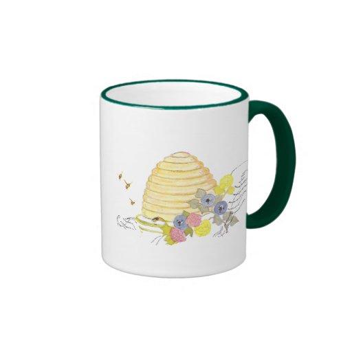 Beehive of Coiled Straw and Flowers Coffee Mug