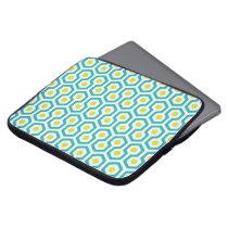Beehive pattern White/Light Blue/Greenish Yellow Computer Sleeve