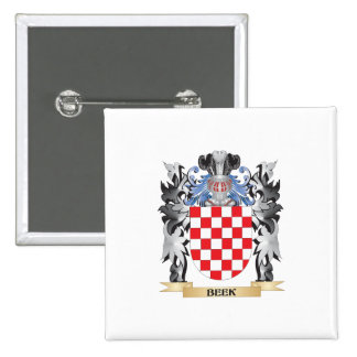 Beek Coat of Arms - Family Crest 2 Inch Square Button