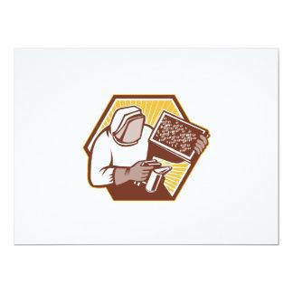Beekeeper Apiarist Holding Bee Brood Retro Personalised Invite