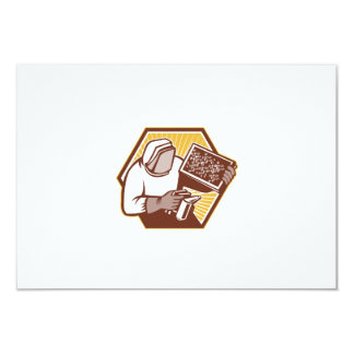 Beekeeper Apiarist Holding Bee Brood Retro Personalized Announcements