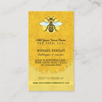 Beekeeper Apiary Bee Farm Honeybees Honeycomb Hive Business Card