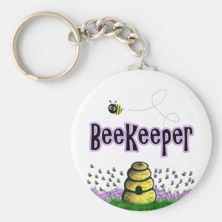 beekeeper basic round button keychain