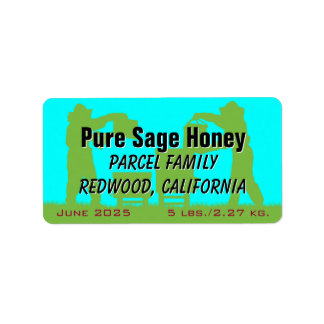 Beekeeper Blue Personalized Honey Labels