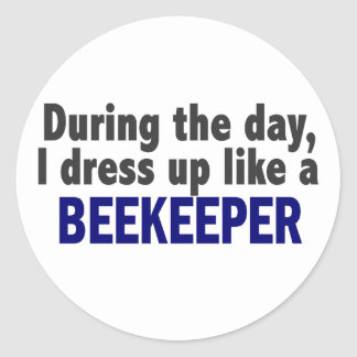 Beekeeper During The Day Round Stickers