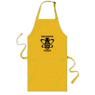 Beekeeper Inside (Black White Bee Drawing) Long Apron
